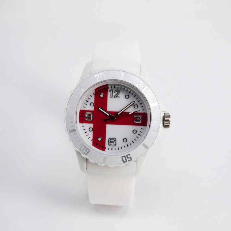 huyia World Cup 2018 Flag Pattern Dial Silicone Band Analog Quartz Wrist Watch Soft England Malaysia