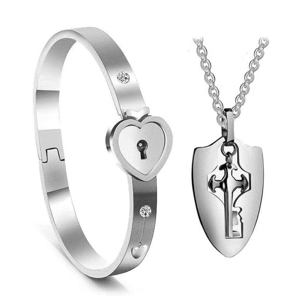 94cb724bd56 OrzBuy Couple Jewelry Set Stainless Steel Keys Concentric Pendants  Necklaces Heart Lock Bracelets Lover
