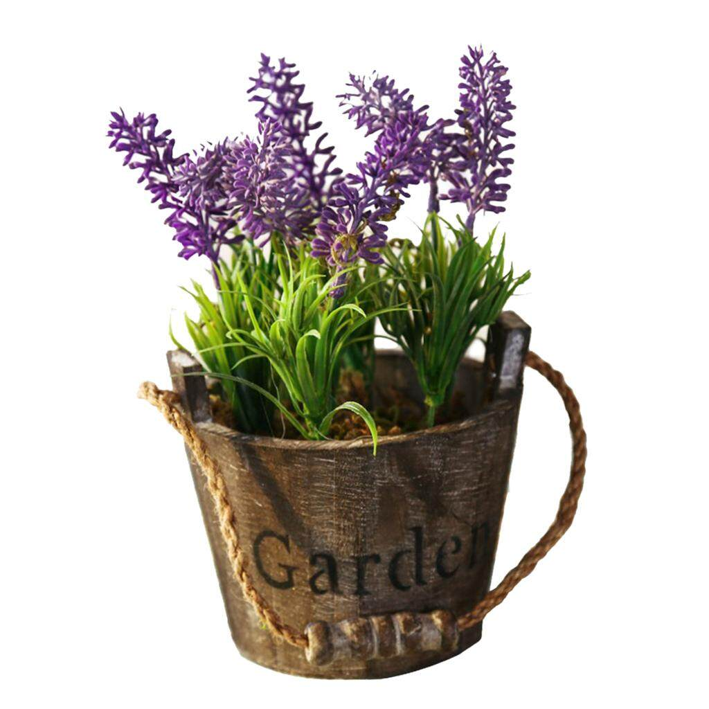 Fityle Assorted Artificial Potted Lavender Flower Plants Gray Pot Purple Flower