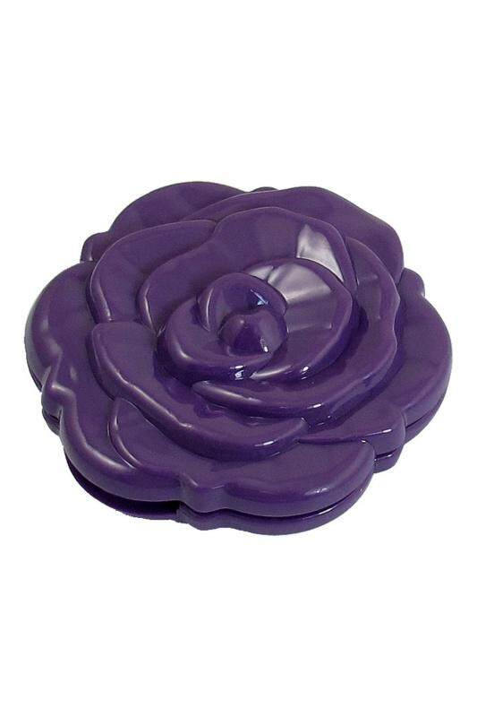 Rose Pattern Round Shaped Two Side Folding Metal Cosmetic Mirror Purple