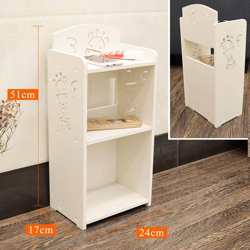 RuYiYu - Small Plastic-Wood White Fawn Bed End Table Nightstand Bathroom Cabinet Kids Furniture Bookcase Table, Creative Water-proof Living Room Multifunctional Assemble Cabinet