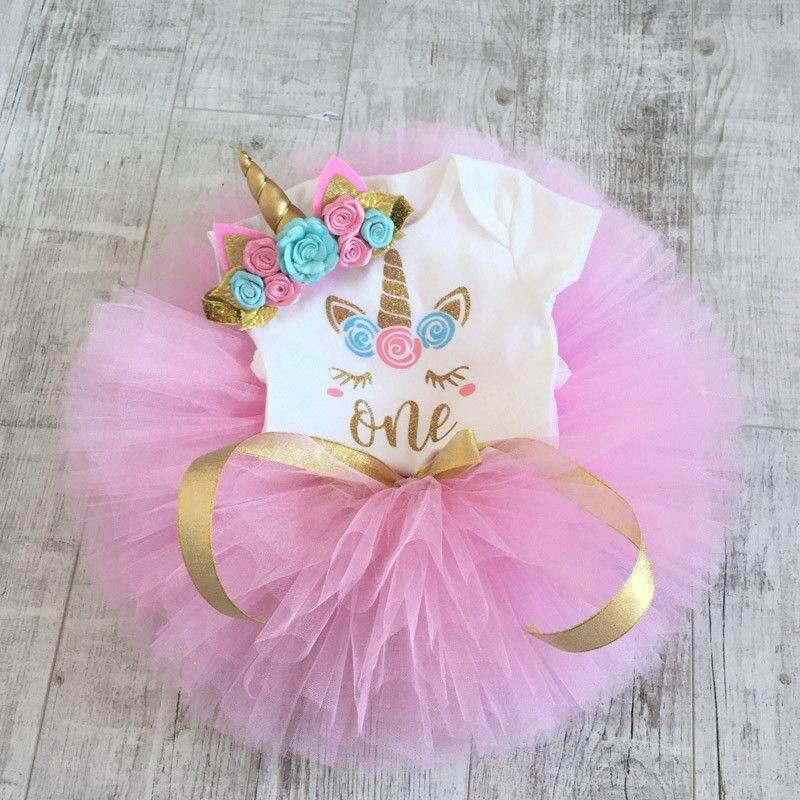 Newborn Baby Girls Unicorn Romper Tutu Skirts Dress Headband Outfit Set By Gm Mall.