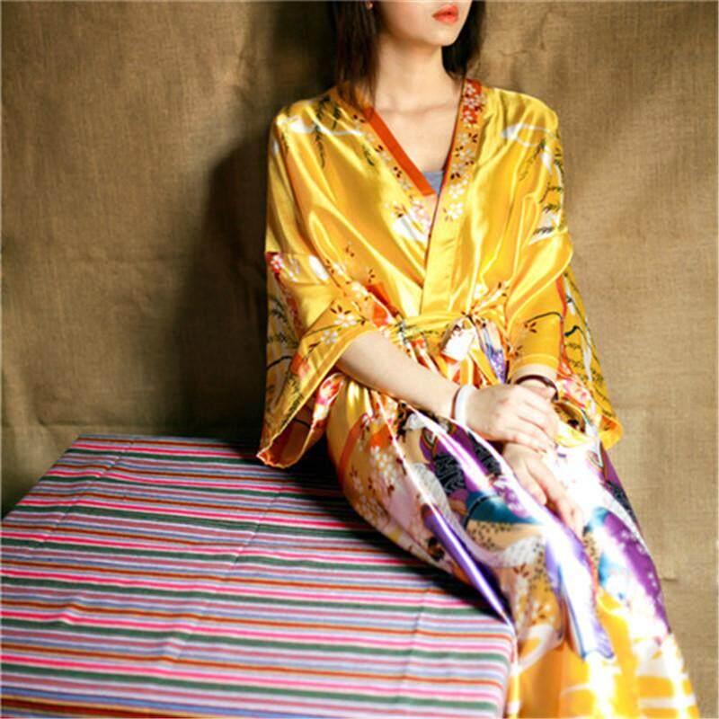 New 2017 Bathrobe Women Satin Bridesmaid Robes Vintage Kimono Printed Floral  Robe Home Dressing Gown Yellow 919bc70be