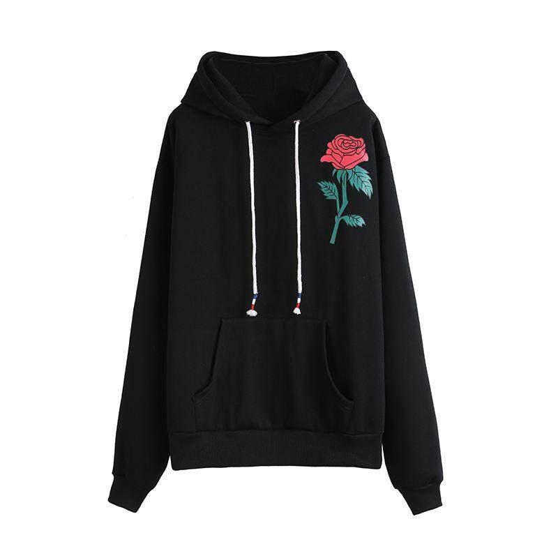 Wanita Mode Terkini Harajuku Sweatshirt Hitam Kerudung Kasual Longgar Rose  Kaos Cetak Jaket Tanpa Kancing Hoodie 551f40deee