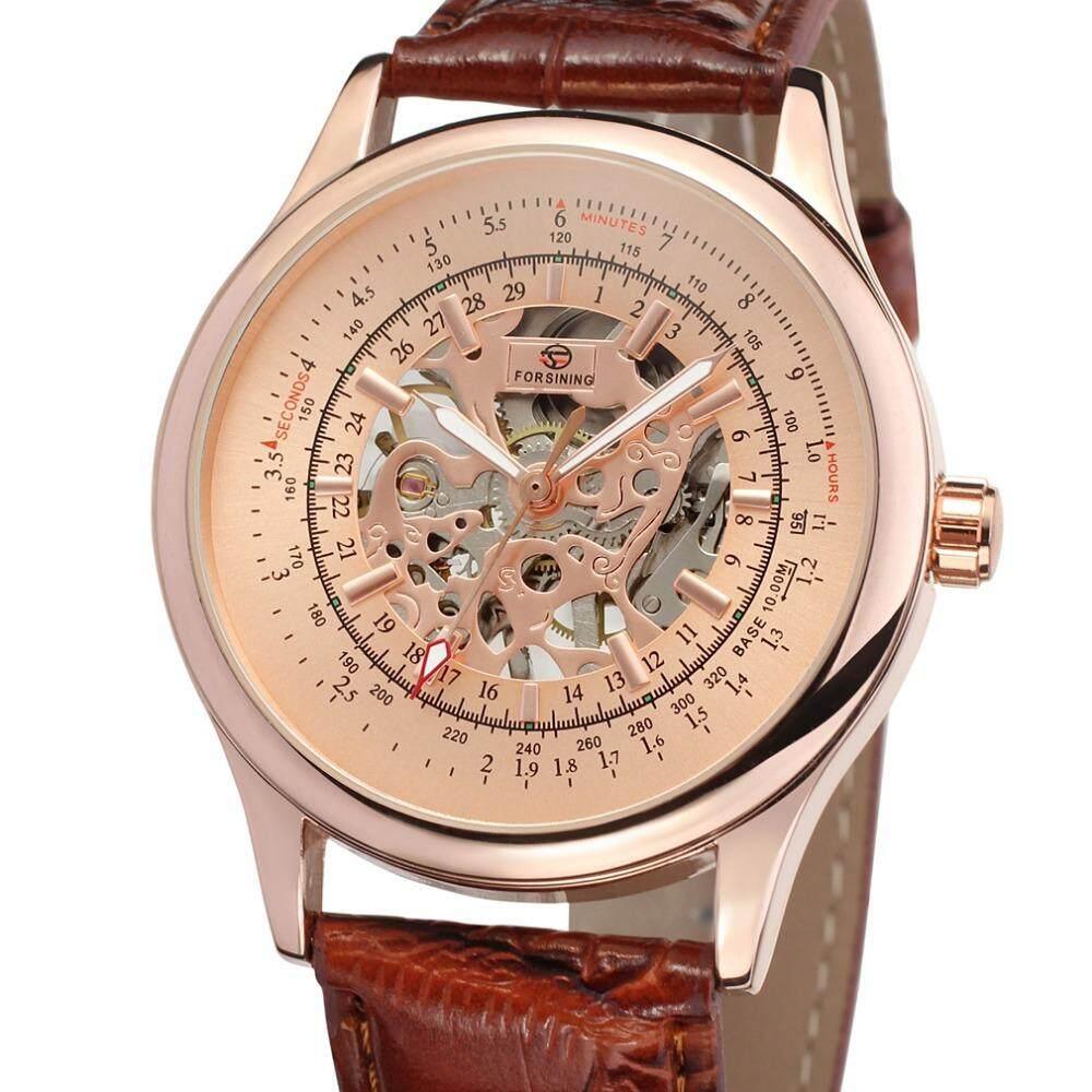 FORSINING FSG8100M3R2 Luxury Rose Gold Color Case Skeleton Dial Brown Genuine Leather Strap erkek saat hand watch men bán chạy