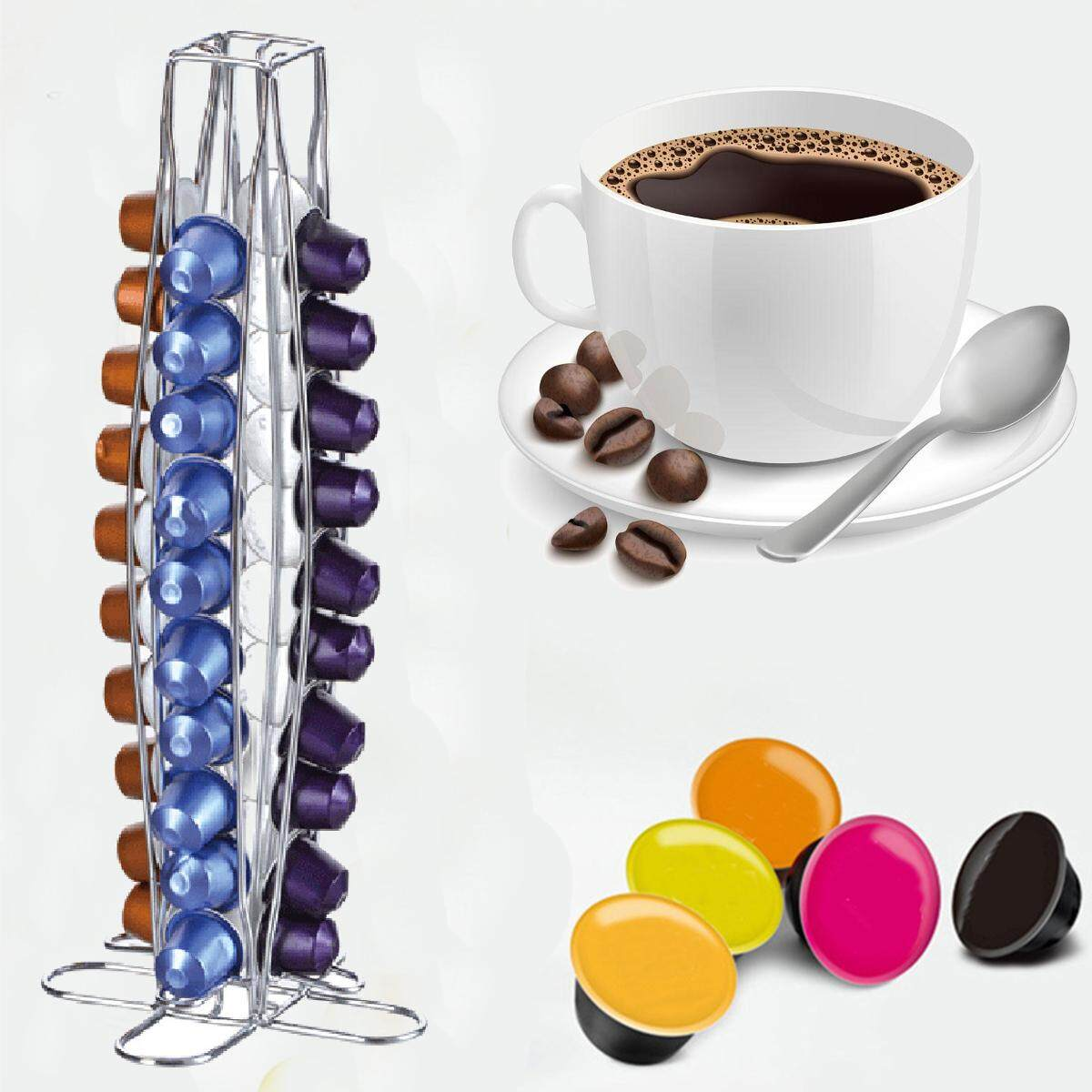 Revolving Rotating 40 Capsule Coffee Pod Holder Tower Stand Rack For Nespresso By Moonbeam.