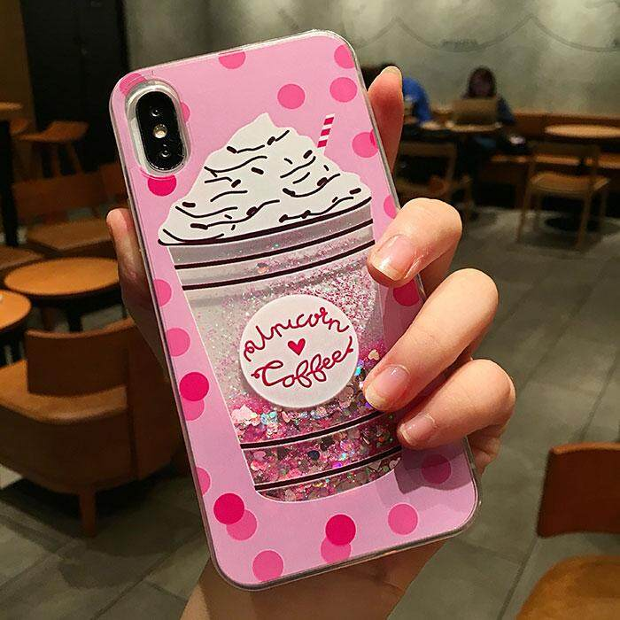 Lucu Glitter Pasir Hisap Cair Dinamis Casing Ponsel Botol Lembut TPU Silicon Penutup Belakang untuk iPhone