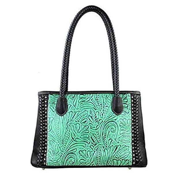 TR25-8394 Montana West Trinity Ranch Tooled Design Collection Handbag-Black - intl