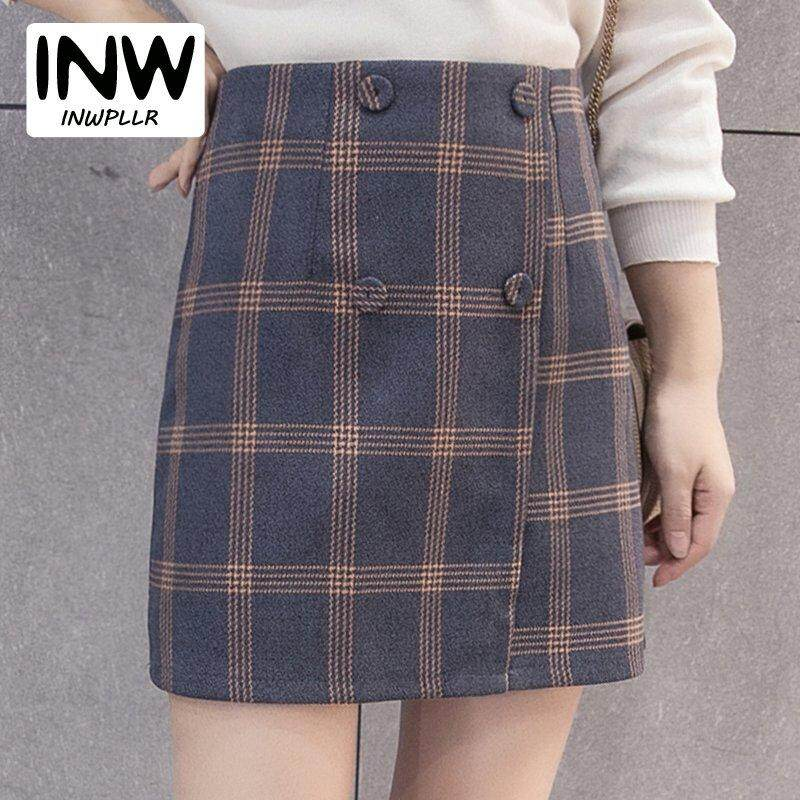 91e33c3f7b2b1 INWPLLR New Fashion Winter Autumn Skirt Women Korean Style Plaid Skirts  Casual Button High Waist Skirt