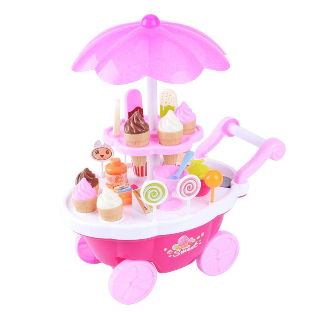Umiwe 39pcs Rotating Ice Cream Candy Trolley Carts Pretend Play Food Set, Supermarket Trolley Toys With Rotating Light And Melody For Girls Boys And Toddlers Kids By Umiwe.