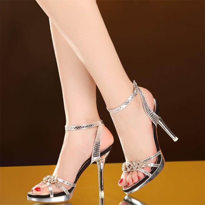 b0851ae48e6 Exclusive Sexy High-heeled Women Open-toe Double Buckle High-heeled Sandals  Ankle