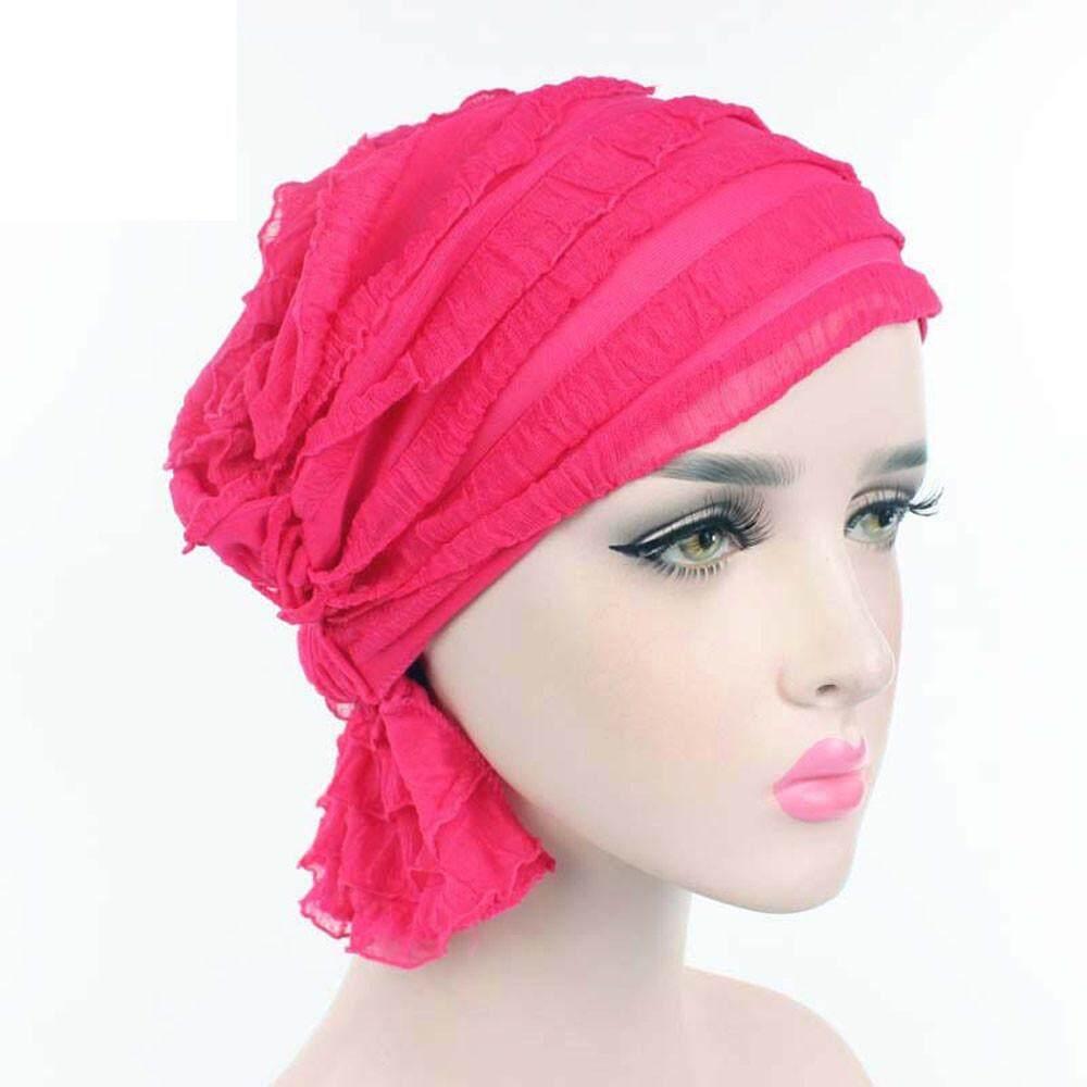 Coconie Wanita Chiffon Ruffle Kanker Topi Chemo Beanie Syal Selendang  Kepala Turban Cap BK 7aa63aae9a