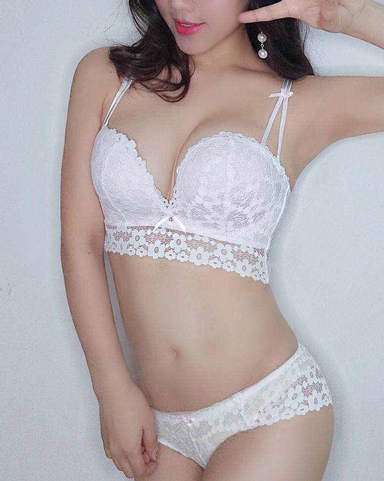Push Up Lace Bra and Panties Set Comfortable Gather Bra Japan Style Concise  Sweet Bra Non 13e803ad0