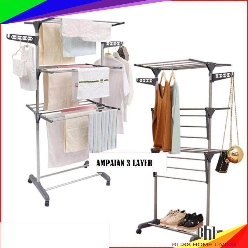 3 Layer Clothes Hanger Drying Rack Portable Foldable Laundry (Grey)