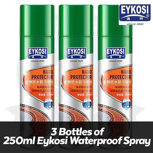 [FREE DELIVERY] (3 Bottles) x Eykosi Waterproof Spray 250ml Water Repellent Nano Spray Waterproof Dirts Proof Stain-proofing Shoes Spray