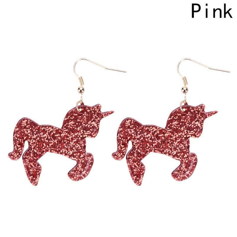 Kuhong Women Simple Personality Exquisite Shiny Acrylic Pony Pendant Earrings - intl
