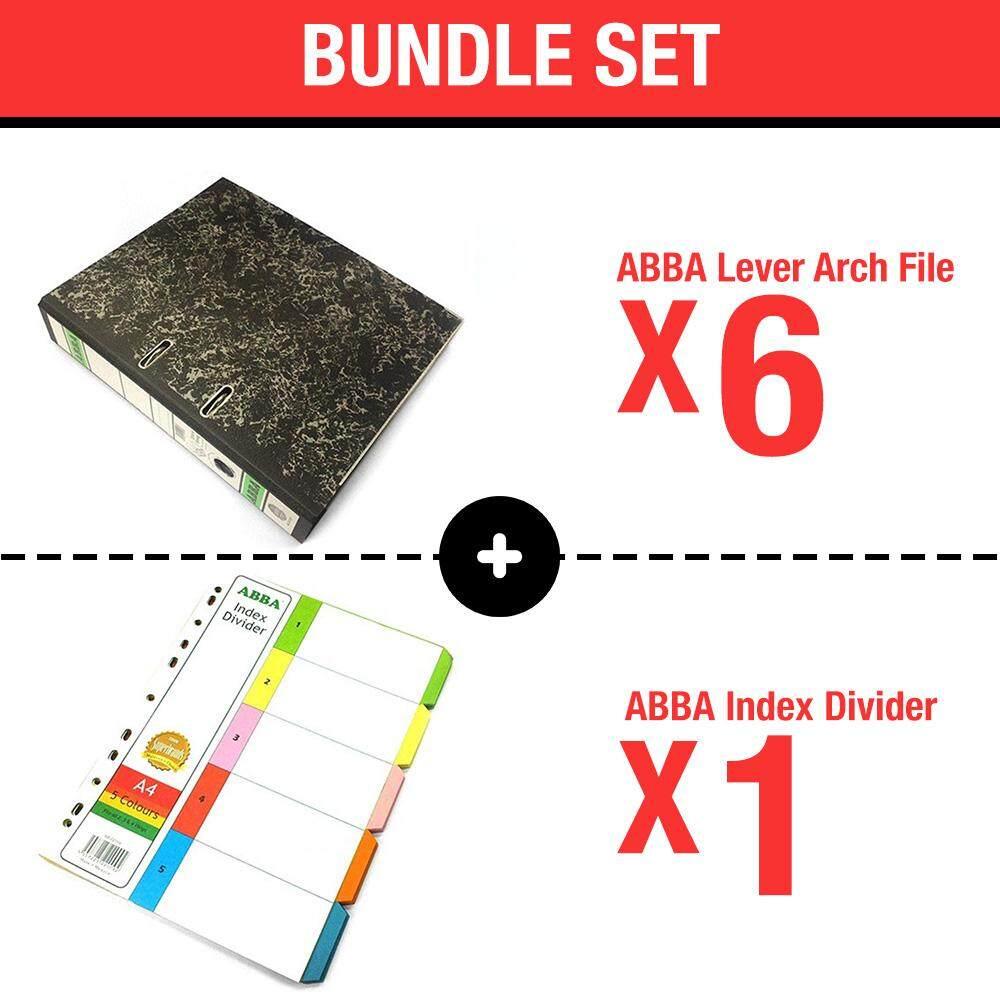 [Bundle] ABBA Lever Arch File - 2-inch Size x 6 pcs + ABBA AB-22009 - 5 color 10 sets Index Divider x 1 pcs