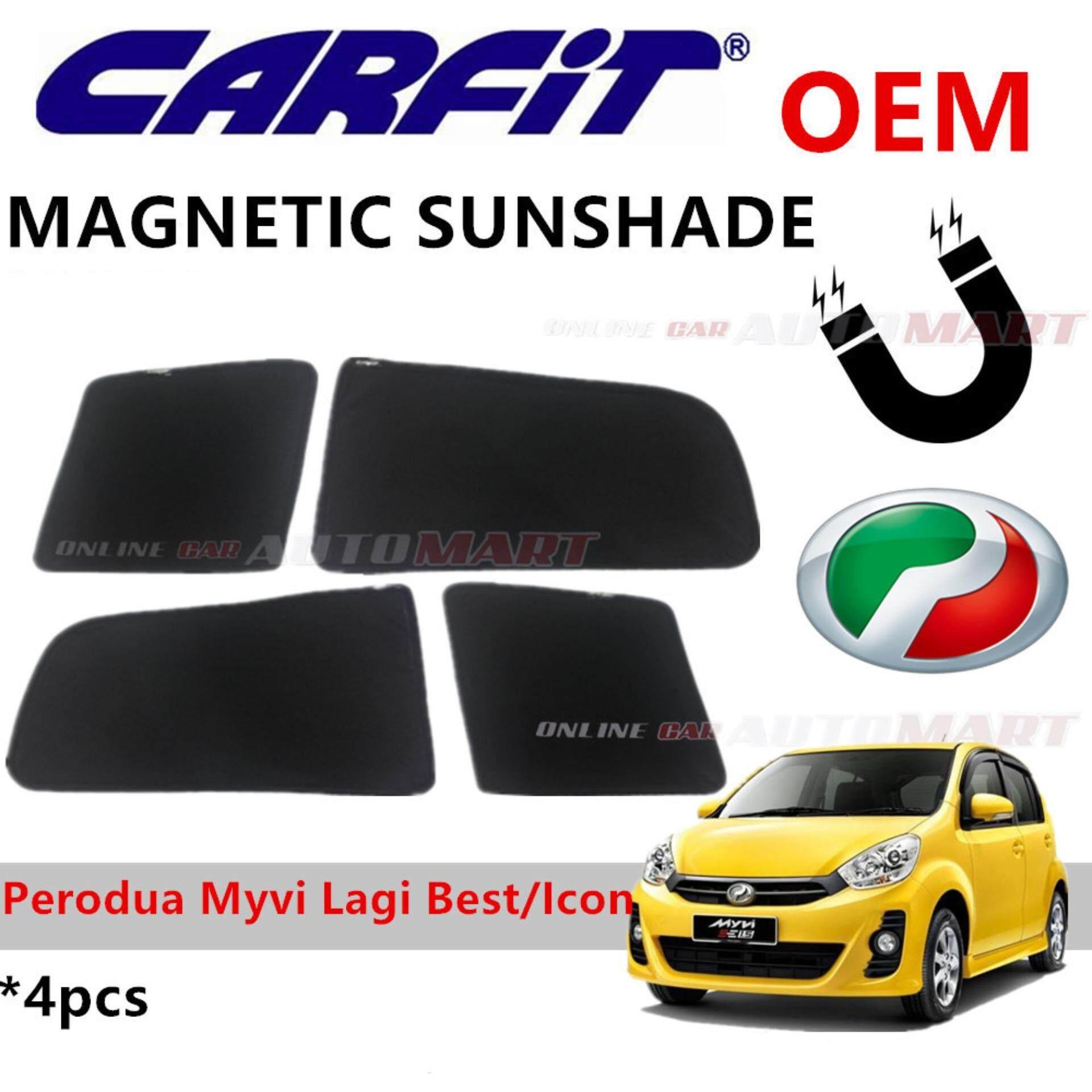 CARFIT OEM Magnetic Custom Fit Sunshade For Perodua Myvi Lagi Best/Icon (4pcs Sets)
