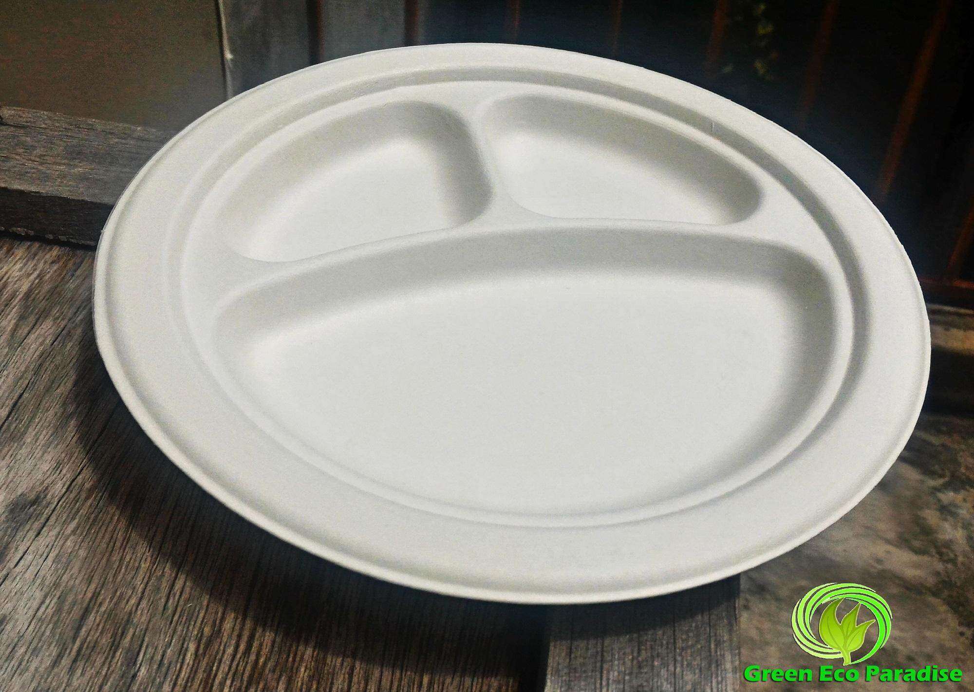 "9"" Biodegradable Sectional Plate [White] 1000 pieces/carton"