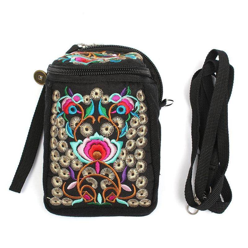 Folk Handmade Flower Embroidery Zero Wallet Camera Bag Aslant Bag Crossbody Handbag - intl