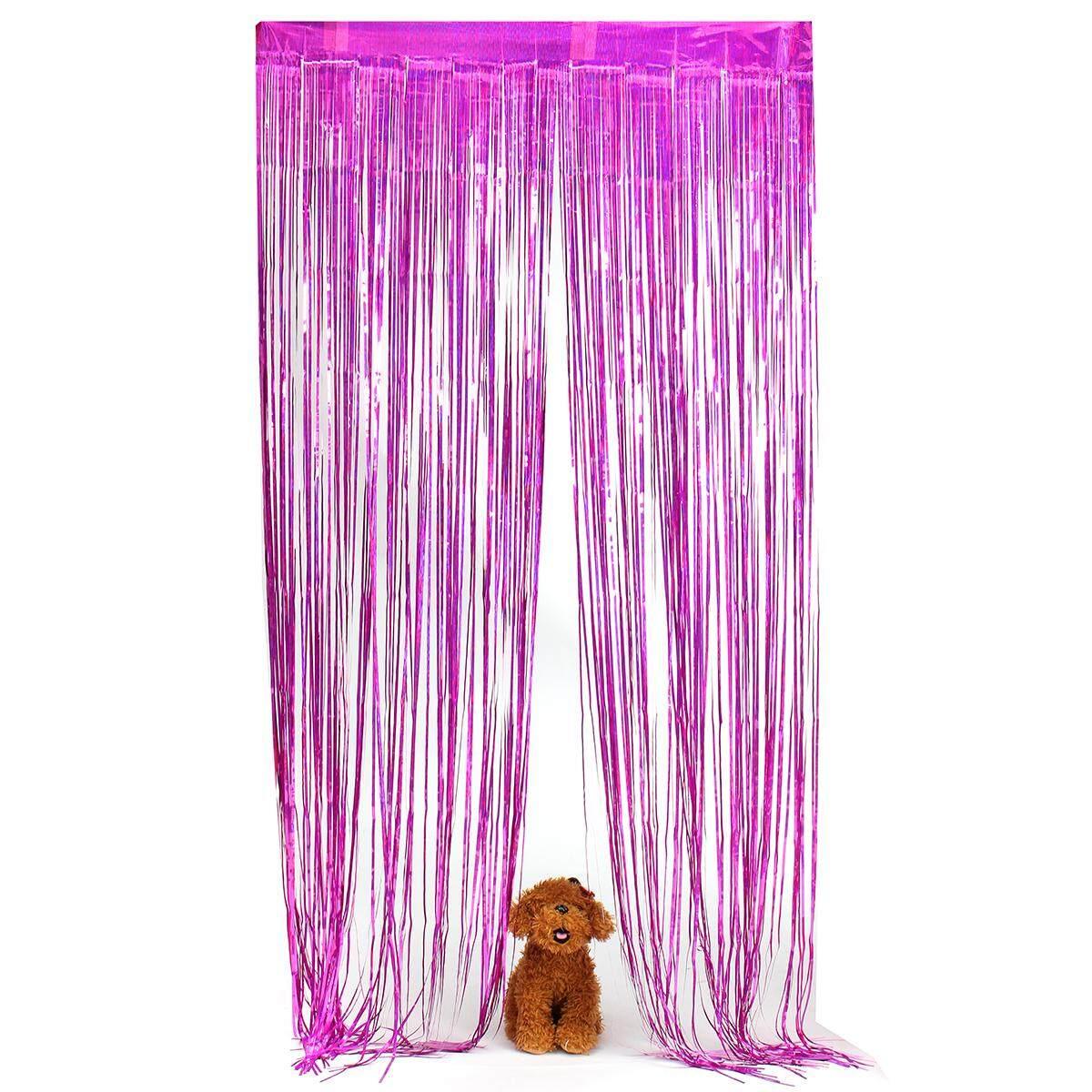 Fitur Shimmer Kertas Perak Pintu Pesta Ulang Tahun Pernikahan Tirai Balonasia Dekorasi Backdrop Foil Detail Gambar 200x100 Cm Mawar Internasional Terkini