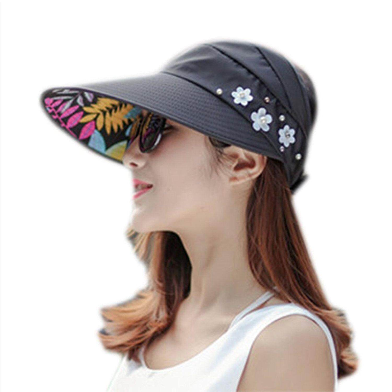 Sun Cap Ladies Foldable Beach Hat Wide Brim Plain Visor Hat Summer UV Sun  Protection Travel 3ef125ea7aea