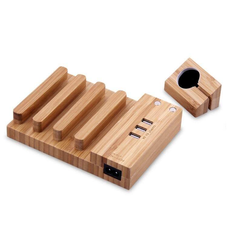 Multi-Fungsi Dilepas Bambu Karbonasi 3 USB Port Dok Pengisi Daya Pemegang Dudukan Ponsel Bracket AU Plug, AC 110-220 V, untuk iPhone, IWatch iPad, Tablet, Samsung Huawei Xiaomi, HTC dan Ponsel Pintar Lainnya, Isi Ulang Perangkat