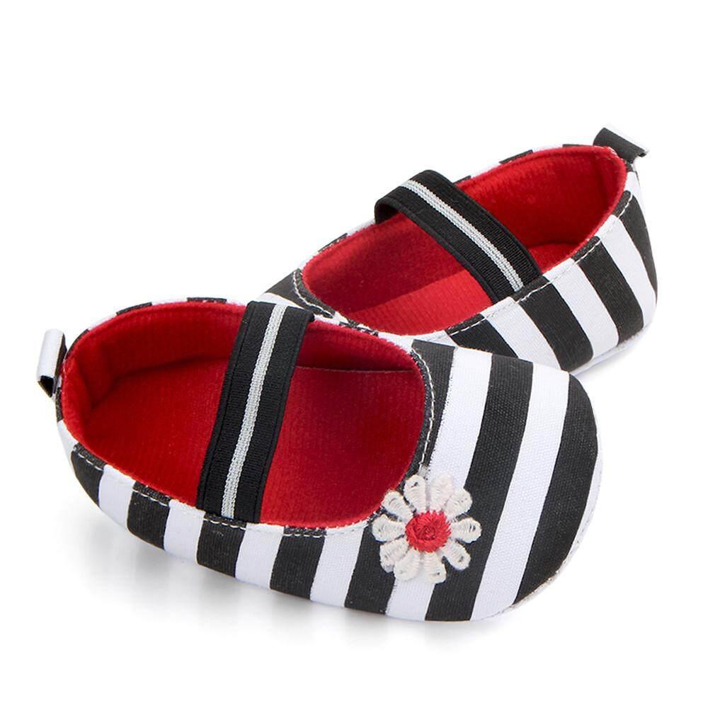 Cocol Max Bayi Bunga Motif Garis Sepatu Sol Lembut Anak Gadis Bayi Anti-Slip Sepatu Bayi Bk/11 By Cocolmax.
