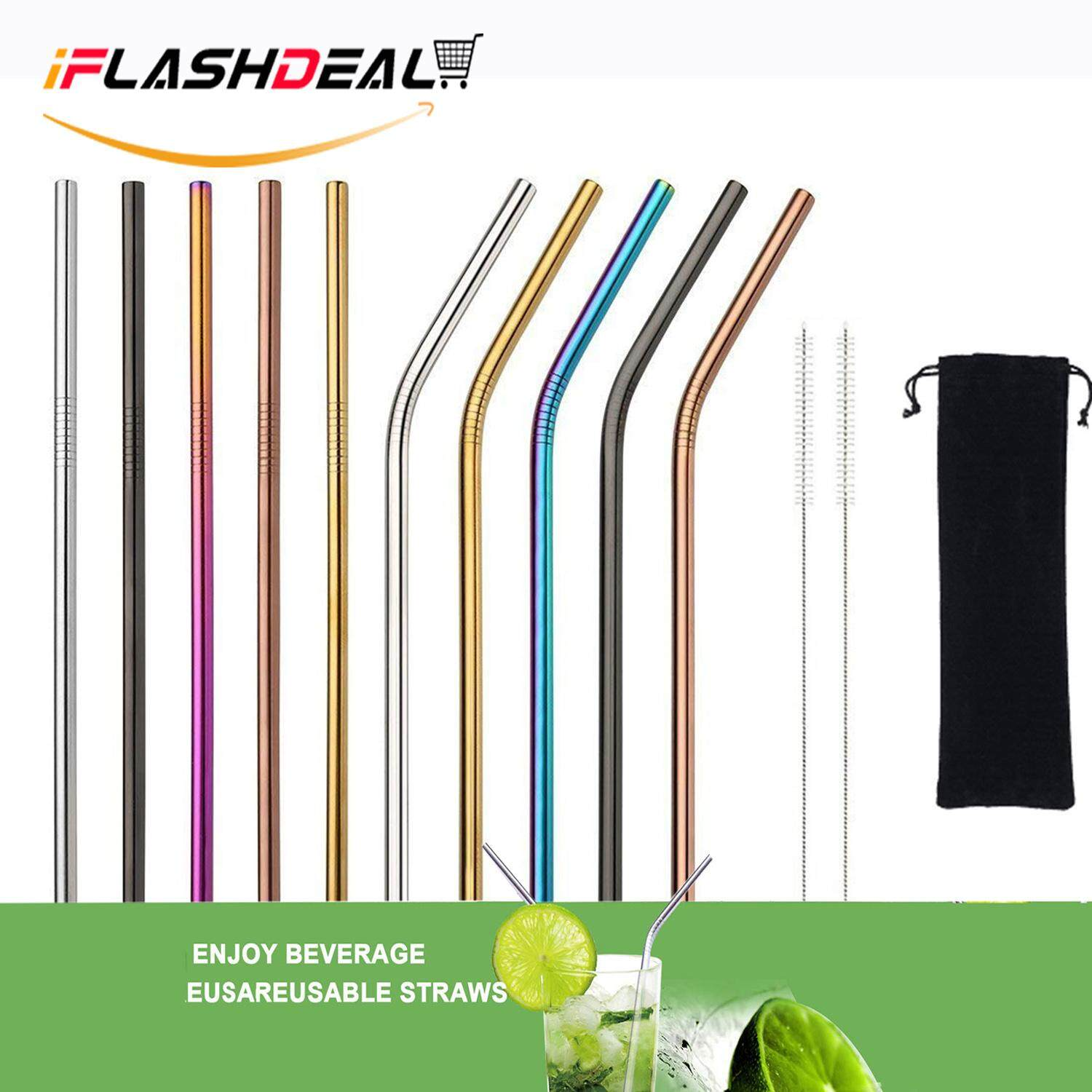 Iflashdeal Stainless Steel Straws Drinking Metal Straws Ultra Long For Tumblers Rumblers Cold Beverage Set Of 10 (5 Straight5 Bent2 Brushes) By Iflashdeal.