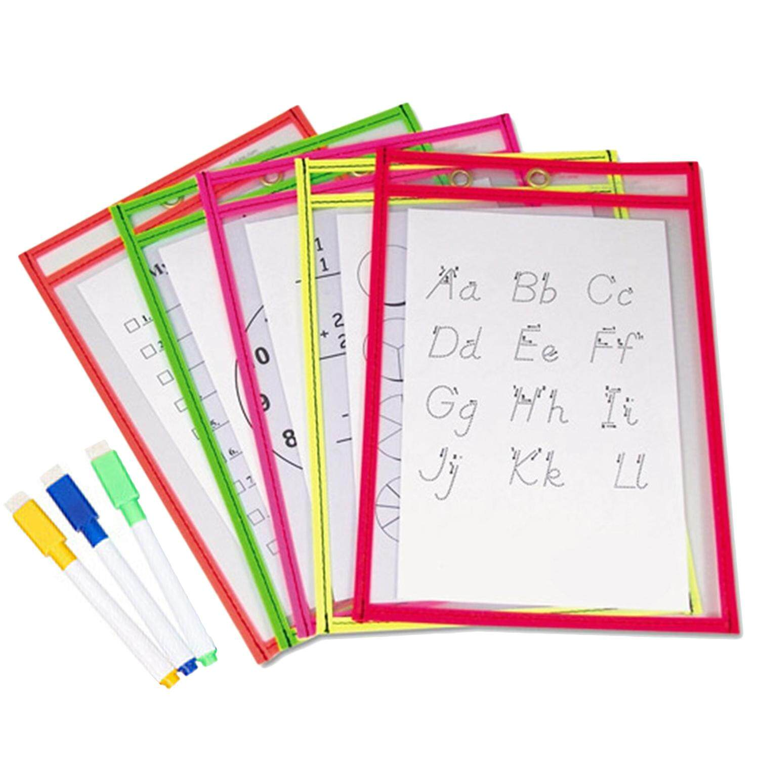 10pcs Reusable Transparent Clear Pvc Dry Erase Pockets Sleeves + 3pcs Pens For Office Learning Classroom Organization Teaching Supplies Random Color By Jelly Store.