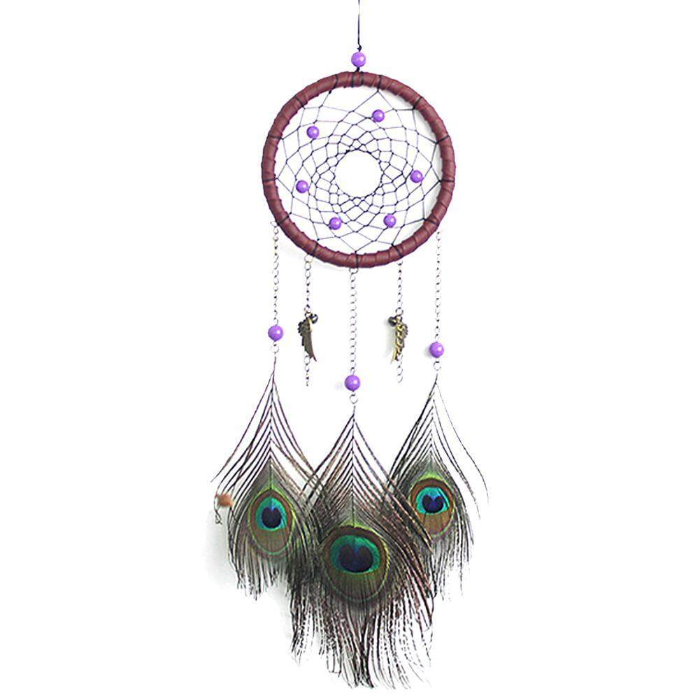 Peacock Pattern Feather Dream Catcher Feather Hanging Handmade Ornament By Companionship.