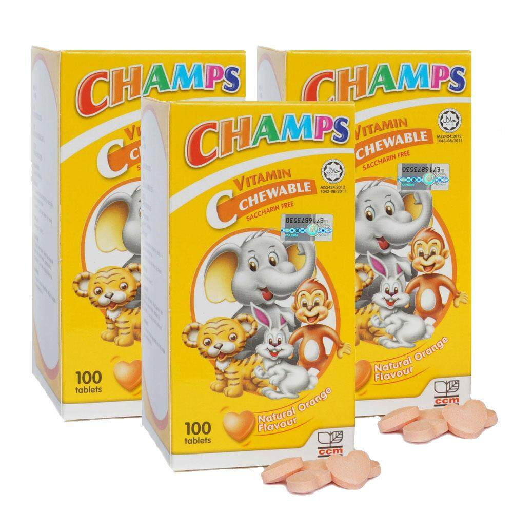 Champs Vitamin C chewable (Orange) for Children 100's X 3
