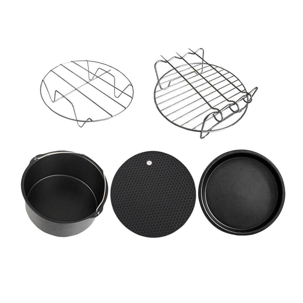 Bolehdeals 5pcs Air Fryer Accessories Set Chips Baking Basket Pizza Pan Dish Pan & Rack By Bolehdeals.