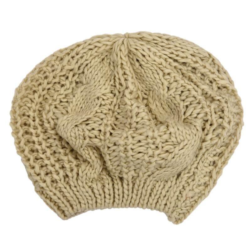 Beige Winter Lady's Warm Knitted Knit Beret Braided Ski Cap Baggy Beanie Crochet women Hat SUN