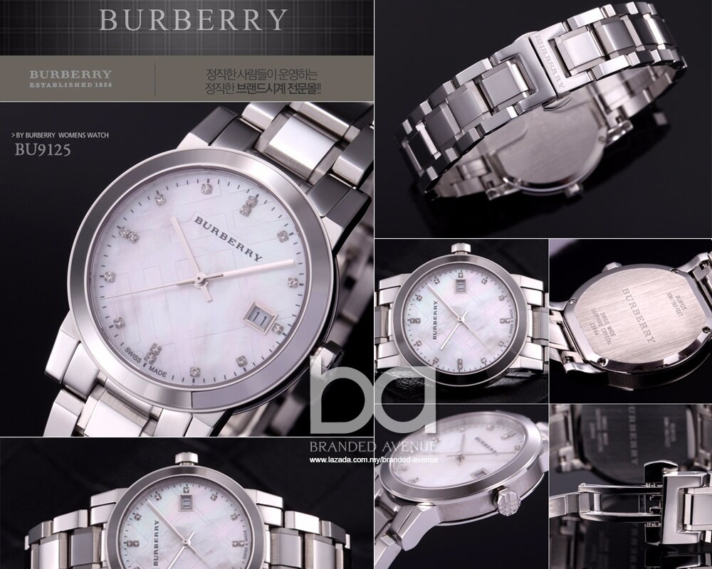 67114ad98d13 Burberry BU9125 The City Diamond Accent Stainless Steel Ladies Watch ...