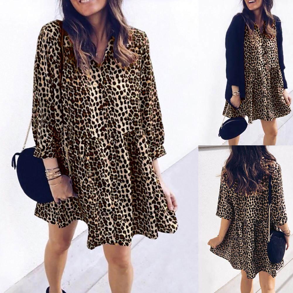 ผู้หญิงแขนยาว Leopard พิมพ์ชุดมินิเดรสฤดูใบไม้ร่วง PARTY Club สวมเสื้อยืด