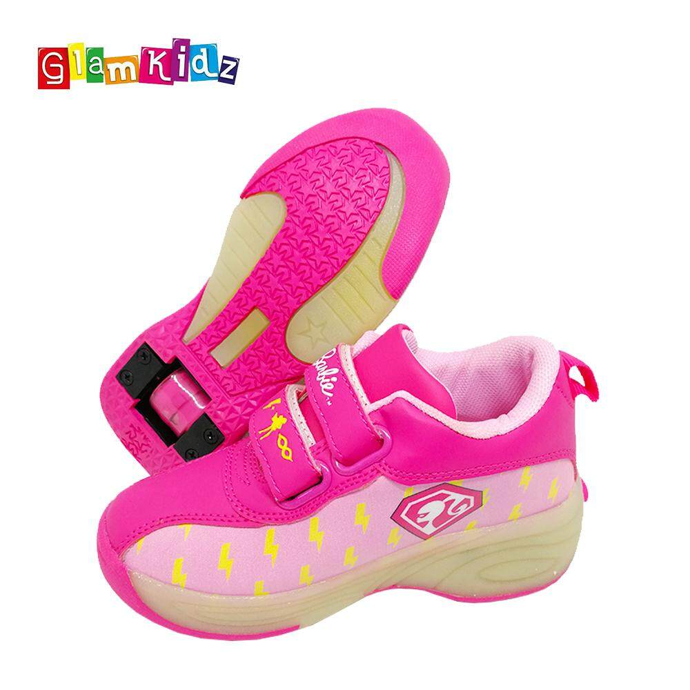 GlamKidz Barbie Girls Fashion Roller Skates Sports Shoes With Retractable Roller & LED #7251
