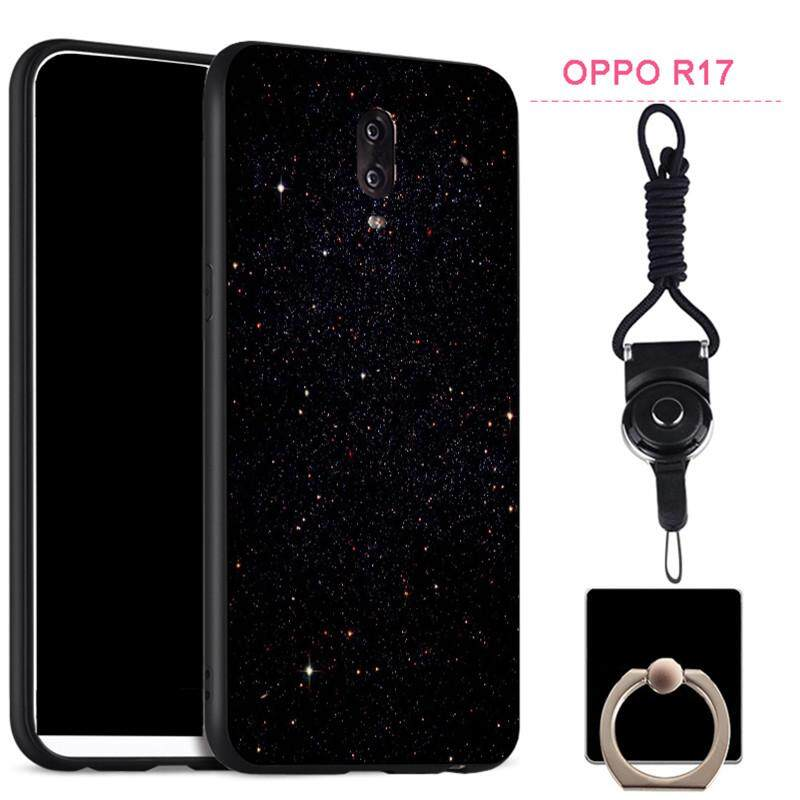 The New Fashion Full Protection Silica Gel Soft Phone Case Matte Phone Case Cover Casing for OPPO R17 with A Rope and A Ring
