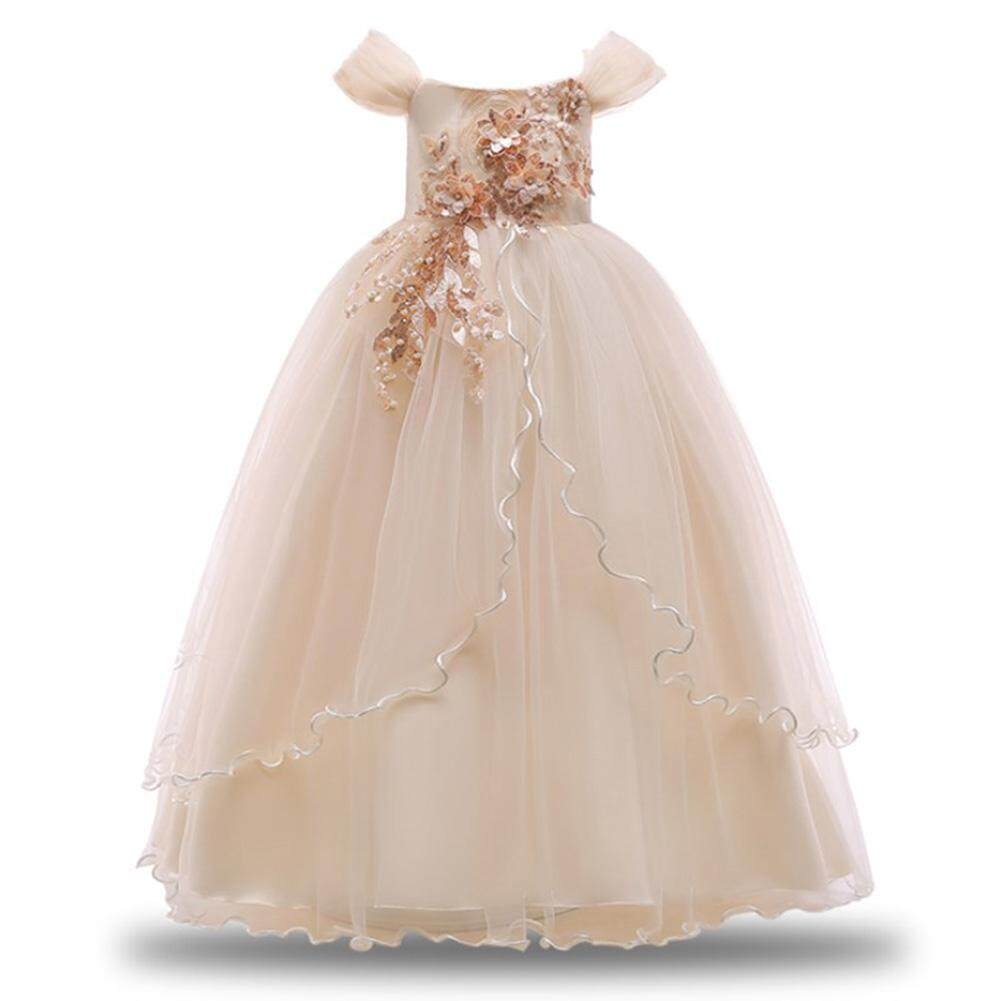 Cô gái Lệch Vai Chính Thức Đầm Công Chúa Hoa Thiết Kế Dài Váy cho Sân Khấu Biểu Diễn Tiệc Cưới