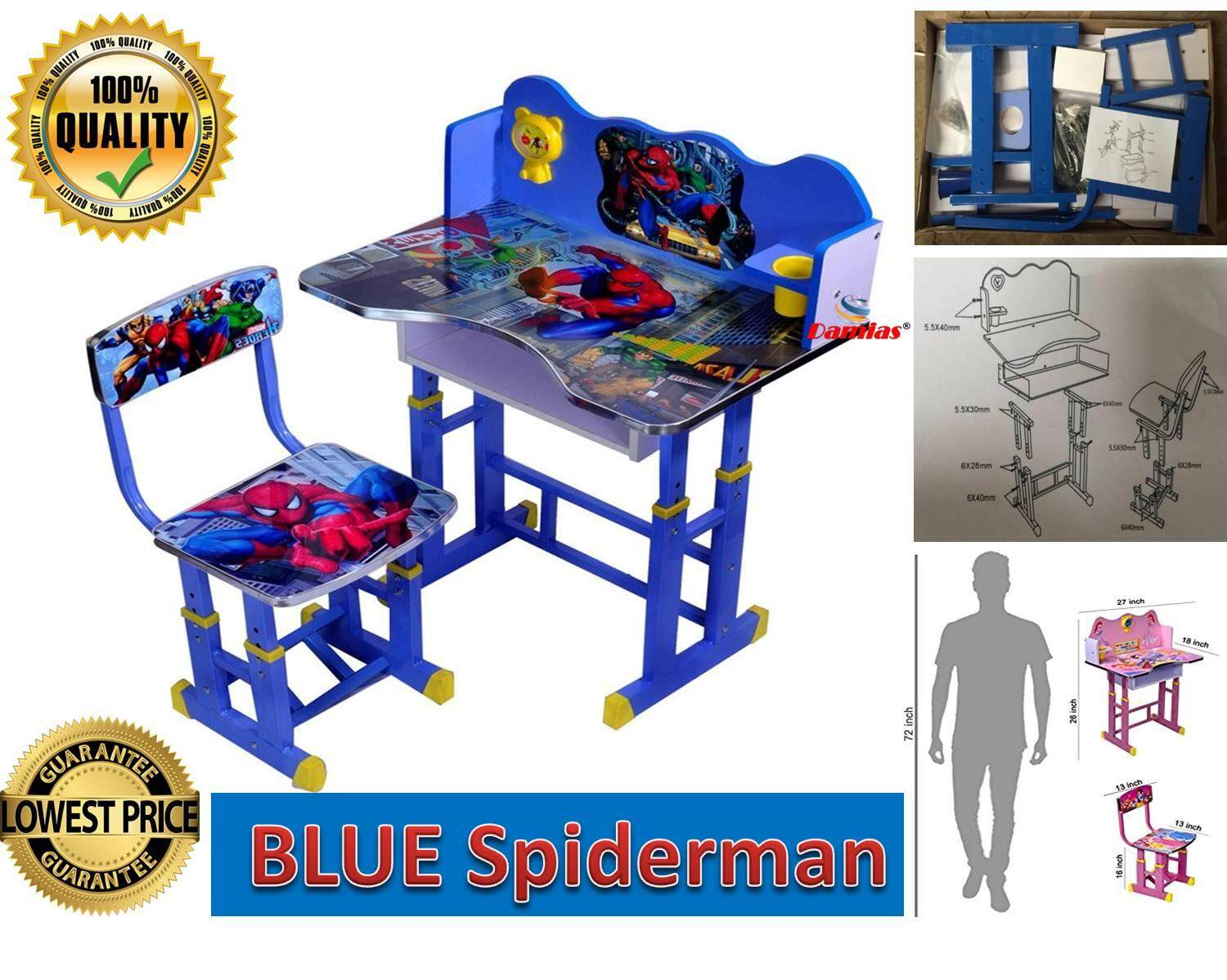 Spiderman Study Table And Chair Kid Set Meja Belajar Hadiah Birtday Hari  Jadi Special Gift Kids