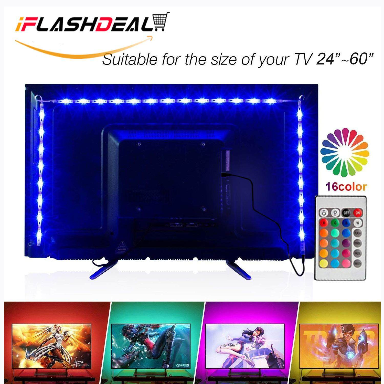 Iflashdeal Usb Led Strip Light Tv Background Lighting Rgb Waterproof Backlight Smd 5050 2m 24keys Remote Controller By Iflashdeal.