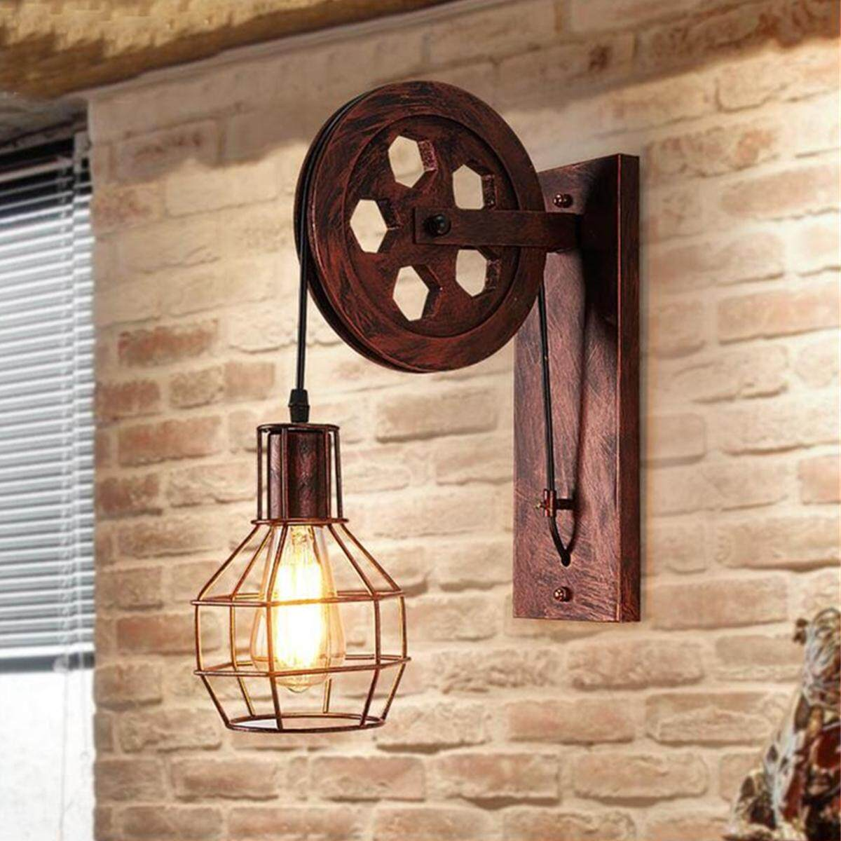 Pulley Retro Industrial Style Lamp Wall Mount Light Iron Bedroom Living Room NEW
