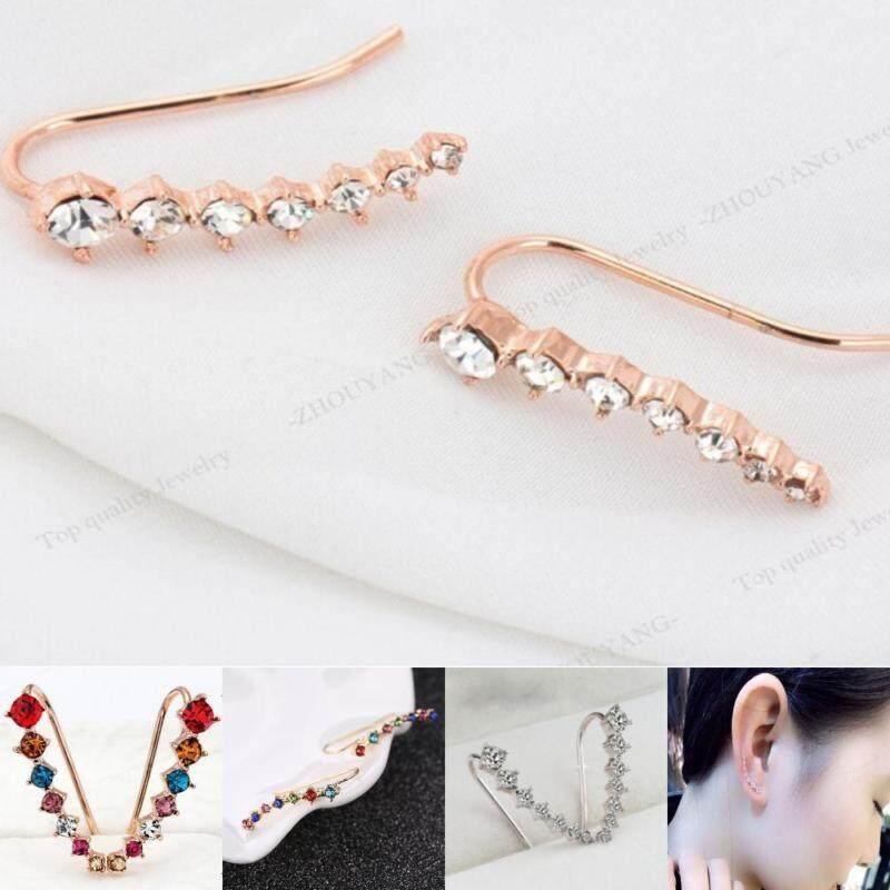 Indah Power 3 Warna Baru Populer Baru Empat Prong Pengaturan Anting Bentuk Kail Perhiasan Trendi 7