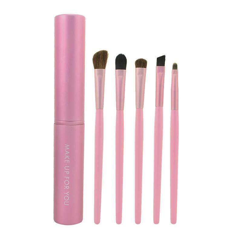 Make-Up untuk Anda Mini 5 Pcs Makeup Kuas Mata Set Makeup Kosmetik Kuas Eyeshadow Bulu Hewan dengan Merah Muda Celana Panjang Jins Anak-Pink -Intl