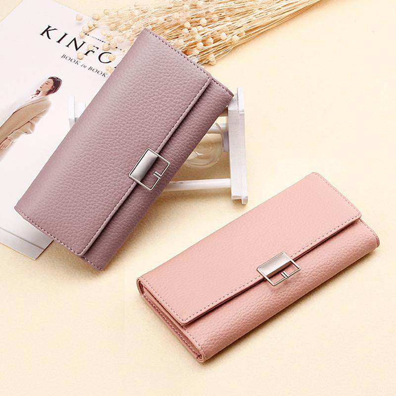 Korean version of the simple buckle clutch bag in the long section three fold PU leather ladies wallet clutch bag