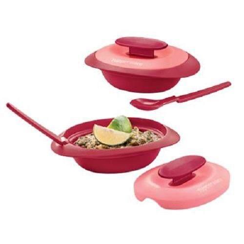 Tupperware Royal Red Sambal Dish with Spoon (2) 110ml