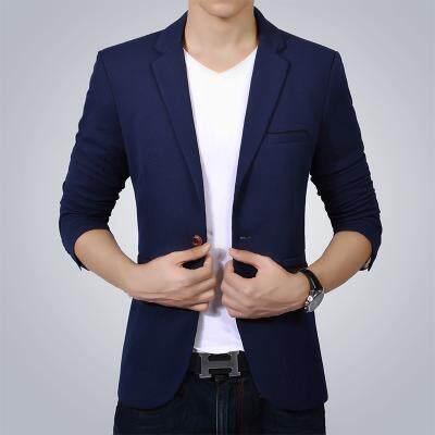 Men Casual Slim Blazers Plus Size 5xl (dark Blue Navy Blue) By Taobao Collection.