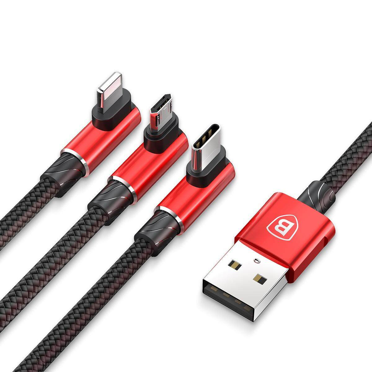 BASEUS MVP Elbow 3.5A 1.2m Lightning 8pin + Type C + Micro USB 3-in-1 Data Charge Cable