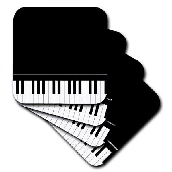 Coasters 3dRose cst_112947_1 Black Piano Edge-Baby Grand Keyboard Music Design for Pianist Musical Player and Musician Gifts-Soft Coasters, Set of 4 - intl