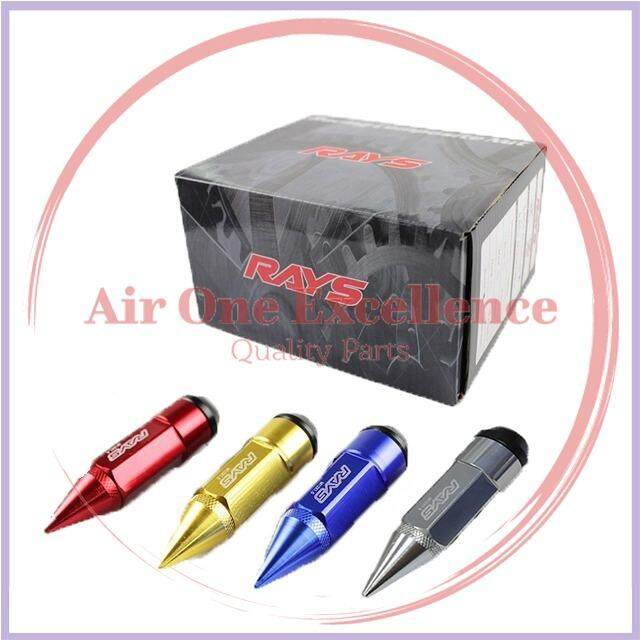 Rays Racing Composite Nut M12x1.5 Anti Theft Alloy Aluminium Lock Wheel Lug Rim Nut Bolt With Spikes Blue (1 Set) By Air One Excellence.